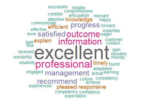 Words used in our client testimonials: Excellent, professional, outcome, information, recommend, etc.